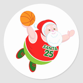 Fun cartoon of Santa Claus dunking a basketball, Classic Round Sticker