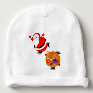 Fun cartoon of Santa Claus & Rudolph ice skating, Baby Beanie