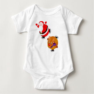 Fun cartoon of Santa Claus & Rudolph ice skating, Baby Bodysuit