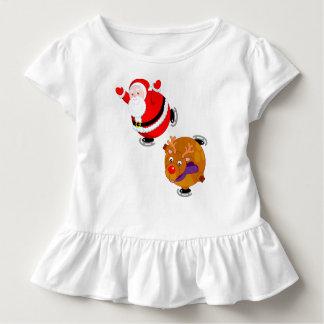 Fun cartoon of Santa Claus & Rudolph ice skating, Toddler T-shirt
