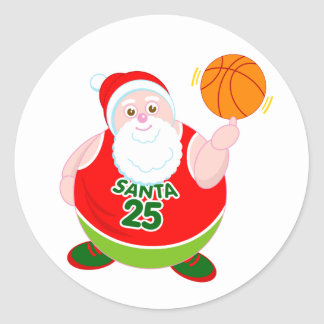 Fun cartoon of Santa Claus spinning a basketball, Classic Round Sticker