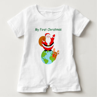 Fun cartoon of Santa Claus standing on the Earth, Baby Romper