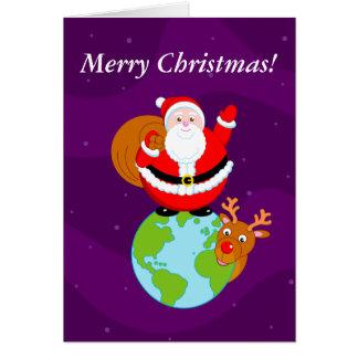 Fun cartoon of Santa Claus standing on the Earth, Card