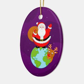 Fun cartoon of Santa Claus standing on the Earth, Ceramic Ornament