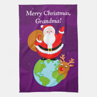 Fun cartoon of Santa Claus standing on the Earth, Kitchen Towel