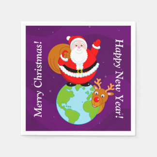 Fun cartoon of Santa Claus standing on the Earth, Napkin