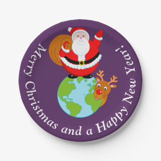 Fun cartoon of Santa Claus standing on the Earth, Paper Plate