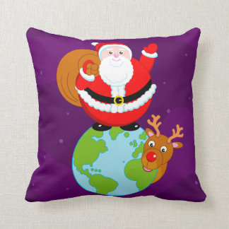 Fun cartoon of Santa Claus standing on the Earth, Throw Pillow