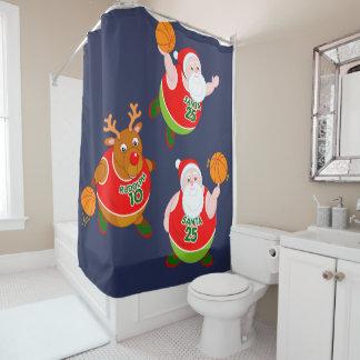 Fun cartoon of Santa & Rudolph playing basketball,