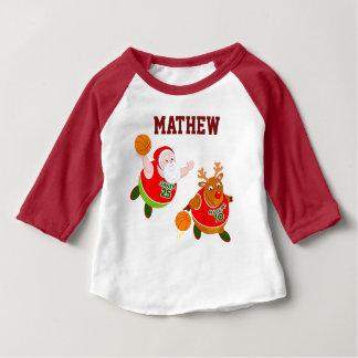 Fun cartoon of Santa & Rudolph playing basketball, Baby T-Shirt