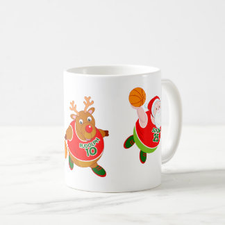 Fun cartoon of Santa & Rudolph playing basketball, Coffee Mug