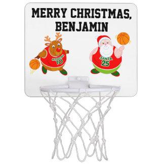 Fun cartoon of Santa & Rudolph playing basketball, Mini Basketball Hoop
