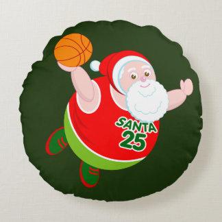 Fun cartoon of Santa & Rudolph playing basketball, Round Pillow