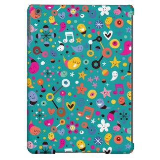 fun cartoon pattern teal iPad air cases