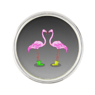 Fun Cartoon Pink Flamingos Wearing Winter Boots Lapel Pin