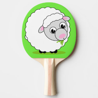 Fun cartoon style cute white woolly sheep, ping pong paddle