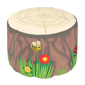 Fun cartoon tree trunk stump surrounded by grass, pouf