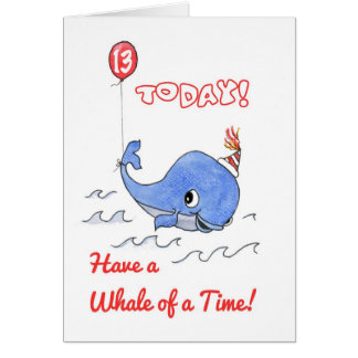 Fun Cartoon Whale and Balloon 13th Birthday Card