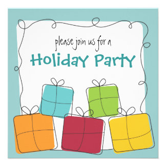 Fun Casual Retro Gift Holiday Party Invitation