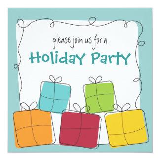 """Fun & Casual Retro Gift Holiday Party Invitation 5.25"""" Square Invitation Card"""