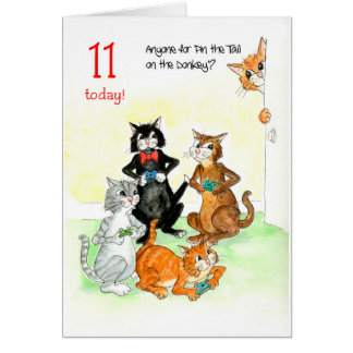 Fun Cats Playing Video Game 11th Birthday Card