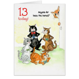 Fun Cats Playing Video Game 13th Birthday Card