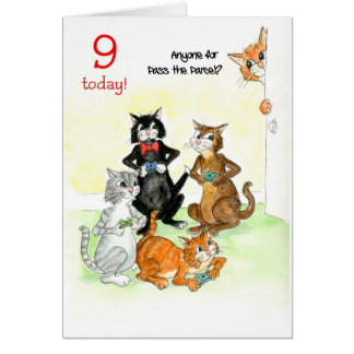 Fun Cats Playing Video Game 9th Birthday Card