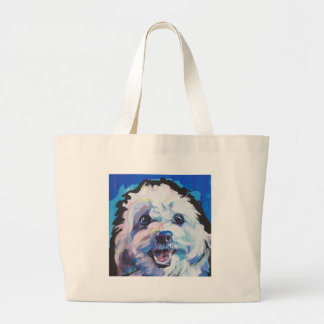 Fun Cavachon Dog bright colorful Pop Art painting Large Tote Bag