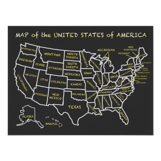 Fun Chalkboard Map of the United States Poster