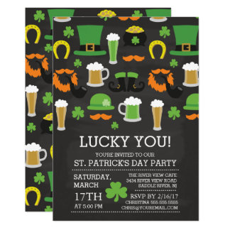 Fun Chalkboard St Patrick's Day Dinner Party Card