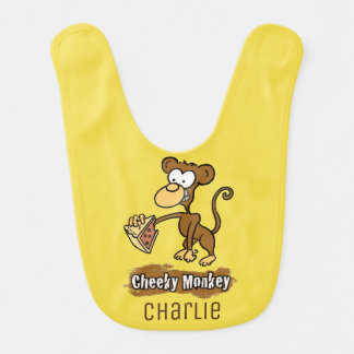 Fun Cheeky Monkey Cartoon Design Bib