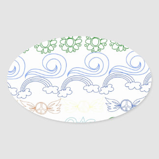 Fun childlike drawings of peace,love,nature,bliss oval sticker