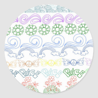 Fun childlike drawings of peace,love,nature,bliss round sticker