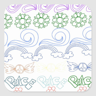 Fun childlike drawings of peace,love,nature,bliss square sticker