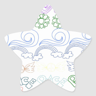 Fun childlike drawings of peace,love,nature,bliss star sticker