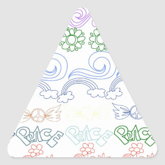 Fun childlike drawings of peace,love,nature,bliss triangle sticker