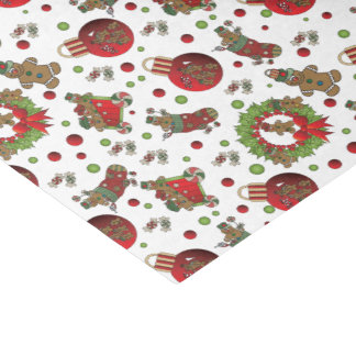 Fun Christmas Gingerbread Men Tissue Paper