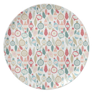 Fun Christmas ornament pattern, soft colors Plate