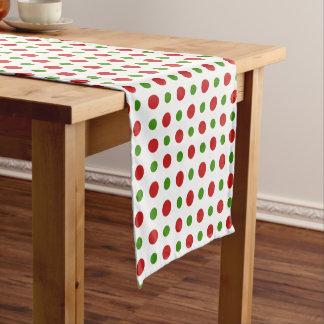 Fun Christmas Red and Pine Green Polka Dots Short Table Runner