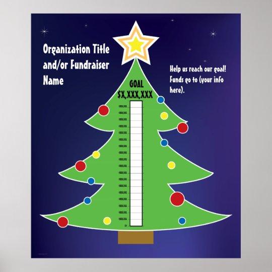 Christmas Fundraiser.Fun Christmas Tree Thermometer Poster