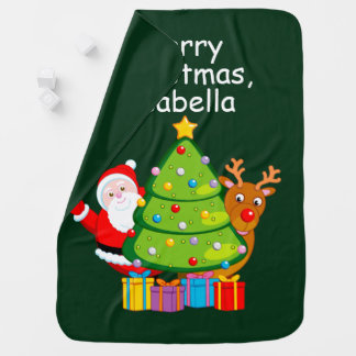 Fun Christmas tree with Santa Claus and Rudolph, Baby Blanket