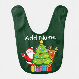 Fun Christmas tree with Santa Claus and Rudolph, Bib