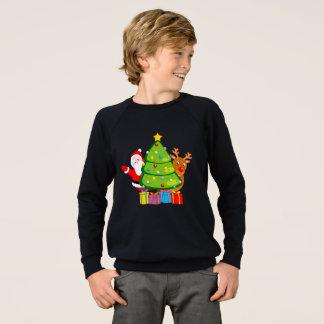 Fun Christmas tree with Santa Claus and Rudolph, Sweatshirt