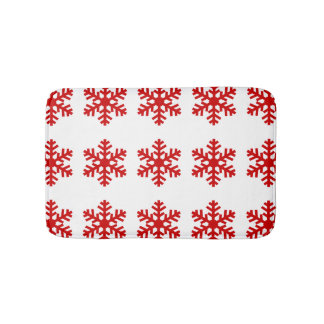 Fun Christmas Winter Red White Snowflake Pattern Bath Mat
