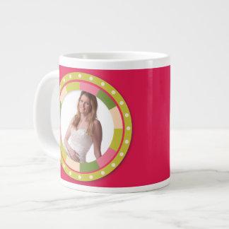 Fun Circle frame - pink leaf on hot pink Jumbo Mug