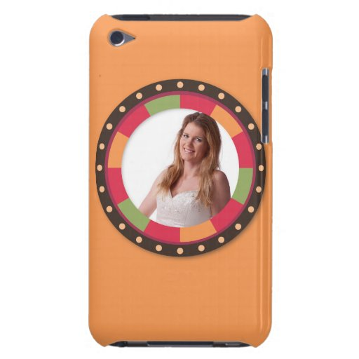 Fun Circle frame - sunset leaf on orange iPod Touch Cases