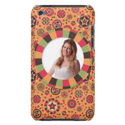 Fun Circle frame - sunset leaf on pattern iPod Touch Cases