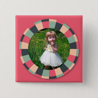 Fun Circle frame - vintage candy - hot pink 2 Inch Square Button