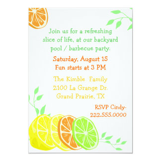 Fun Citrus Slices Party Invitation
