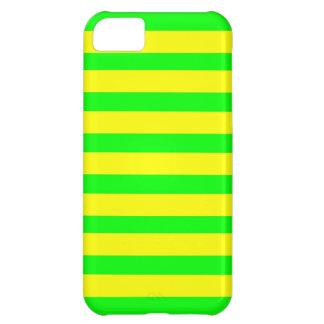 Fun Citrus Yellow and Neon Green Striped Pattern iPhone 5C Cases